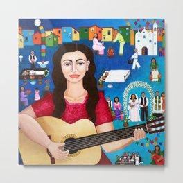 Violeta Parra playing guitar Metal Print