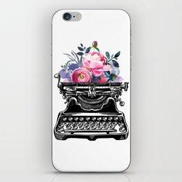 Vintage typewriter, watercolor flowers, flowers, watercolor, writer gift, writer, type, typewriter iPhone Skin