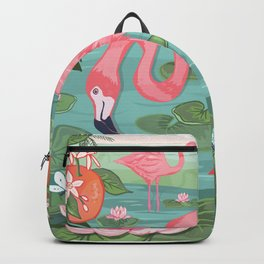 Flamingo and Waterlily Backpack