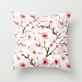 Watercolor cherry blossom pattern Throw Pillow