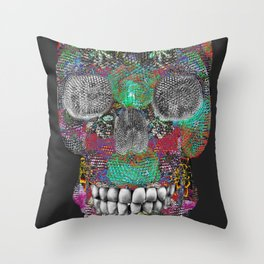 Flower Power Skelly Throw Pillow