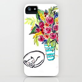 Sleeping cat next to a vase of roses iPhone Case