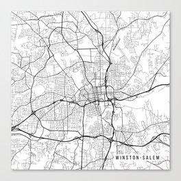 Winston-Salem Map, USA - Black and White Canvas Print