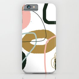 Crooked Circle Abstract Pink Blue Black Brown iPhone Case