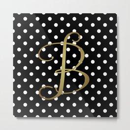 Black and White Polka Dot with Gold Monogram Metal Print