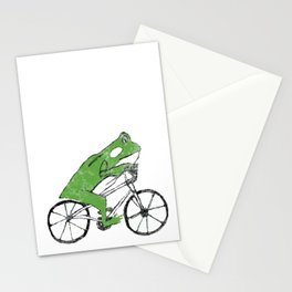 Tree Frog Riding BMX Bicycle Stationery Cards