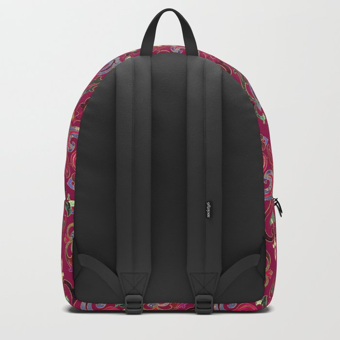 Persian Floral pattern  with painted texture and gold Backpack