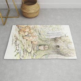 Squirrels and an owl Rug