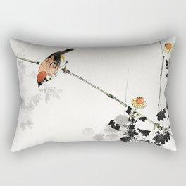 Vintage Illustration Of A Little Bird On A Branch Rectangular Pillow
