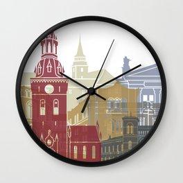 Oslo skyline poster Wall Clock