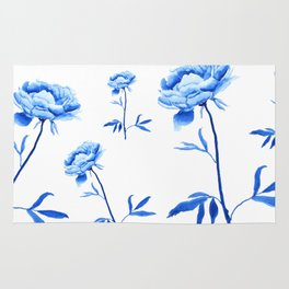 one blue peony painting Rug