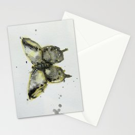 Yellow and Gray Butterfly Stationery Cards