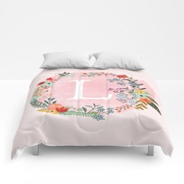 Flower Wreath with Personalized Monogram Initial Letter L on Pink Watercolor Paper Texture Artwork Comforters