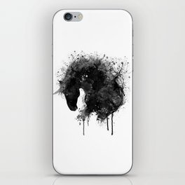 Black and White Horse Head Watercolor Silhouette iPhone Skin