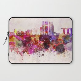 Singapore V2 skyline in watercolor background Laptop Sleeve