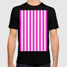 Vertical Stripes (Hot Magenta/White) MEDIUM Black Mens Fitted Tee