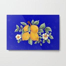 Sicilian blue pattern.Citrus,exotic art. Metal Print