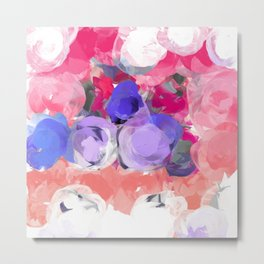 Flower Power in Pink, Purple, Peach and White Metal Print