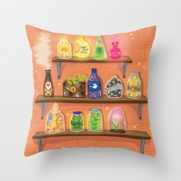 Potion Shelves Throw Pillow