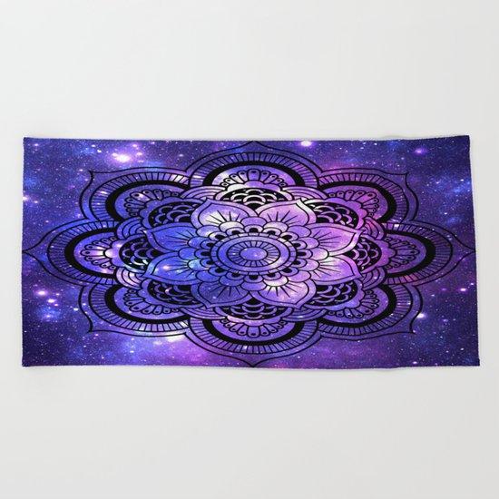 Mandala : Purple Blue Galaxy Beach Towel
