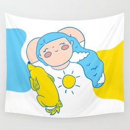 Girl with sky hair Wall Tapestry