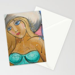 Portrait of beauty girl Nelly in large hut painting by Ksavera Stationery Cards