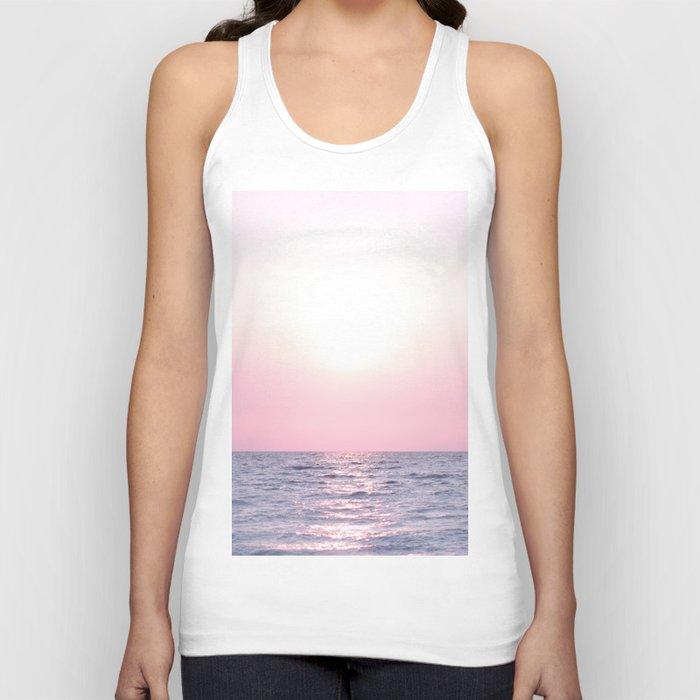 Ocean waves #pink Unisex Tank Top