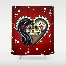 Ashes - Day of the Dead Couple - Kissing Sugar Skull Lovers Shower Curtain