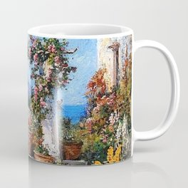 'A Parisian Garden' landscape floral garden painting by Tom Mostyn Coffee Mug