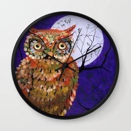 Owl, Owl Painting, Moon, Night Sky, Purple, by Faye Wall Clock