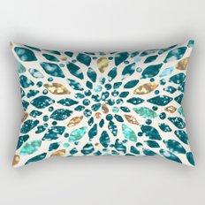 Glitter Dahlia in Gold, Aqua and Ocean Green Rectangular Pillow