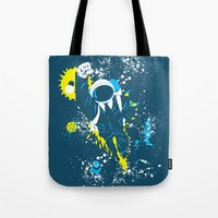 suit Tote Bags featuring space suit by Jonah Makes Artstuff