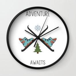 Adventure Awaits - Ski Wall Clock