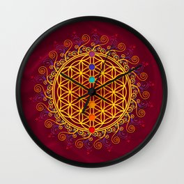 FLOWER OF LIFE, CHAKRAS, SPIRITUALITY, YOGA, ZEN, Wall Clock