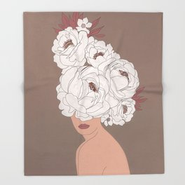 Woman with Peonies Throw Blanket