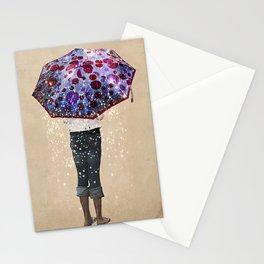 Paraguas     girl, umbrella, galaxie, stars Stationery Cards
