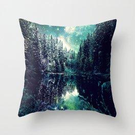 A Cold Winter's Night : Spearmint Teal Green Winter Wonderland Throw Pillow