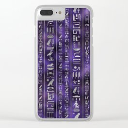 Silver Egyptian hieroglyphics pattern Clear iPhone Case