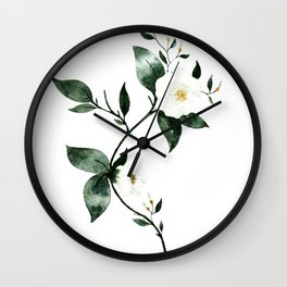 White Florals #1 Wall Clock