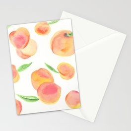 Summer Peaches: Watercolor Painting Stationery Cards