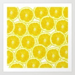 Summer Citrus Lemon Slices Art Print