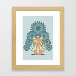Cat in the Flowerfield Framed Art Print