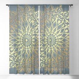 Blue Golden Mandala Sheer Curtain