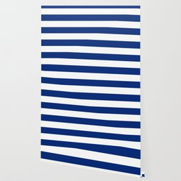 Catalina blue - solid color - white stripes pattern Wallpaper