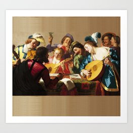 The Concert, by Gerrit van Honthorst, 1623, Dutch painting, oil on canvas. The influence of Caravagg Art Print