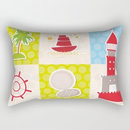 Card pirate design. Cute party invitation colorful background seamless pattern. lighthouse compass Rectangular Pillow