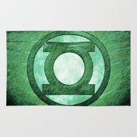 green lantern Area & Throw Rugs featuring Green Lantern: Symbol by André Joseph Martin