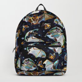 Psychedelic Flying Bats and Moths Pattern Backpack