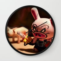 bacon Wall Clocks featuring Bacon by m4Calliope