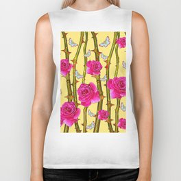 WHITE BUTTERFLIES & CERISE PINK ROSE THORN CANES YELLOW Biker Tank